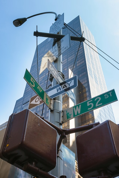 New york city, straßenschild. Premium Fotos