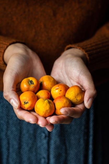Nicht erkennbare frau, die einige tejocotes früchte hält Kostenlose Fotos