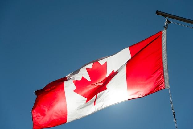 Niedrige winkelsicht des kanadischen flaggenflatterns, twillingate, süd-twillingate-insel, neufundland Premium Fotos