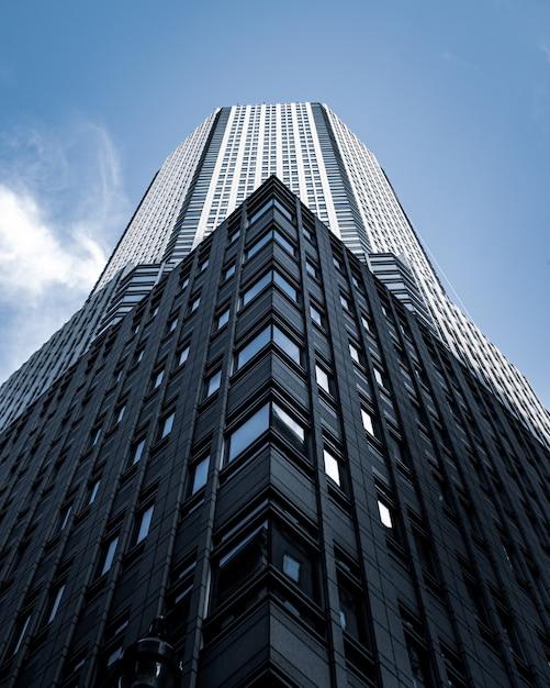 Niedriger winkelschuss eines hohen stadtgebäudes mit einem blauen himmel im hintergrund in new york Kostenlose Fotos