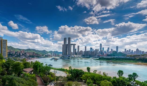 Nightscape-skyline der städtischen architektur in chongqing, china Premium Fotos