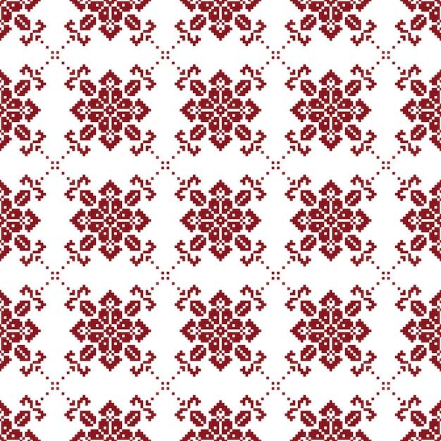 Norwegisches nahtloses weihnachtsmuster mit den roten und weißen farben Premium Fotos
