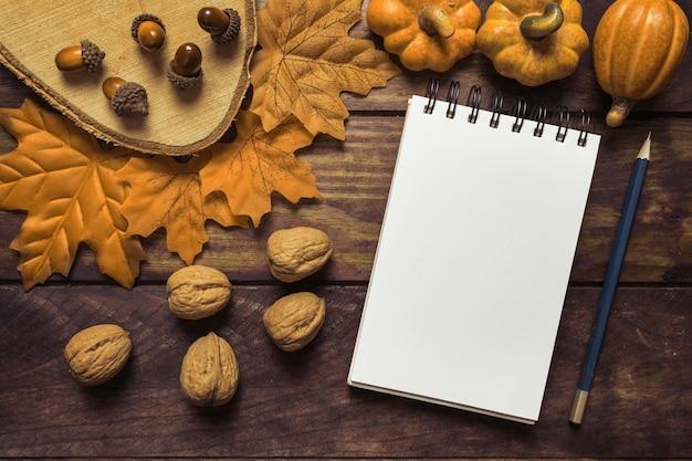 Notizbuch und nüsse in der schönen herbstzusammensetzung Kostenlose Fotos