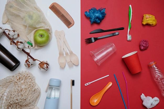 Null-abfall-konzept. plastikmüll gegen umweltfreundliche wiederverwertbare produkte Premium Fotos