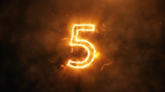 Nummer 5 in flammen Premium Fotos