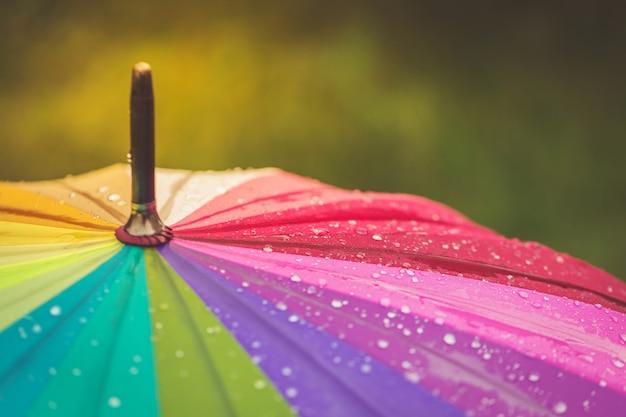 Oberfläche des regenbogenregenschirmes mit regentropfen auf ihm Premium Fotos