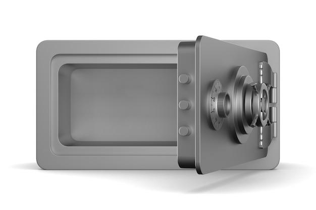 Öffnen sie den safe auf weißem hintergrund. isolierte 3d-illustration Premium Fotos