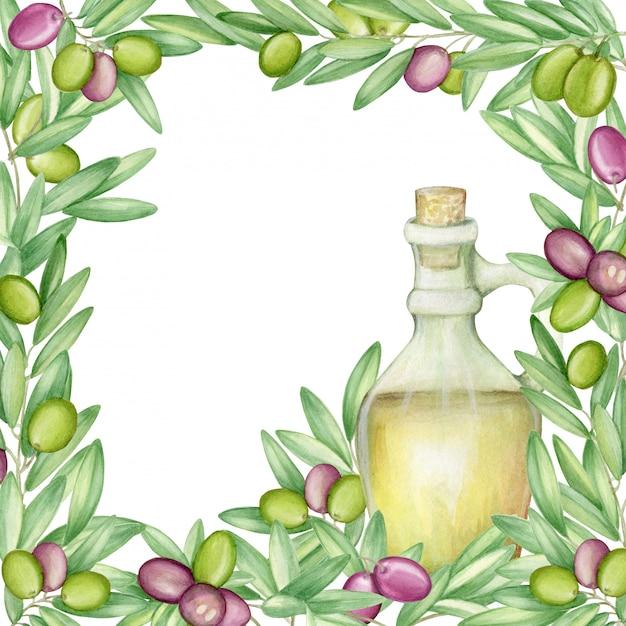 Olive rahmen. mit olivenzweigen und früchten für die italienische küche. aquarell. Premium Fotos