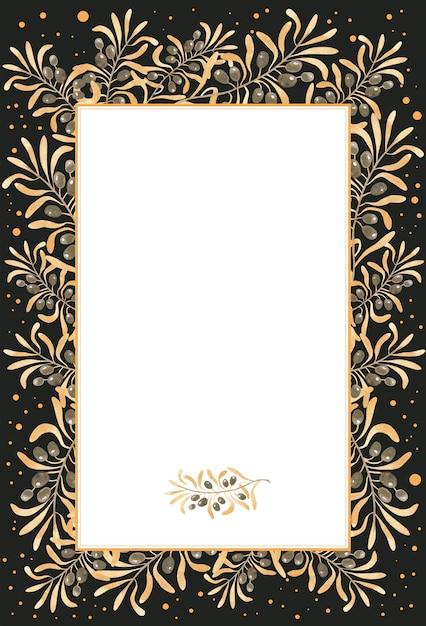 Olivgrüner goldener aquarellrahmen Premium Fotos