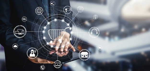 Omni-channel-technologie des online-einzelhandels. Premium Fotos