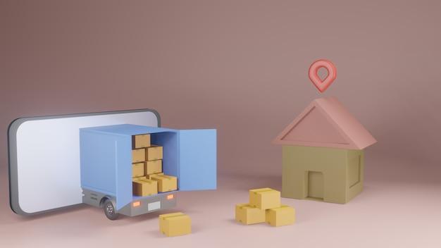 Online-lieferservice app-konzept, lieferwagen und handy mit karte. 3d-rendering Premium Fotos