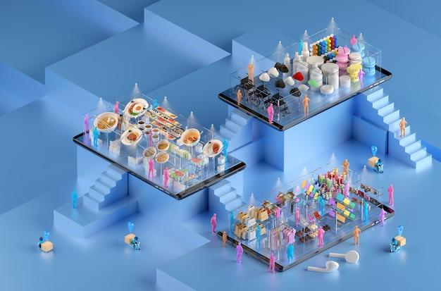 Online-shopping in einkaufszentren und lieferung über smartphone-anwendungen. Premium Fotos