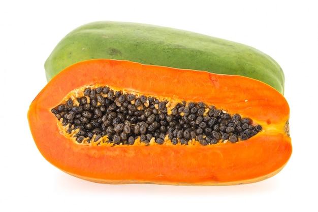 Orange frucht papaya weißer hintergrund Kostenlose Fotos