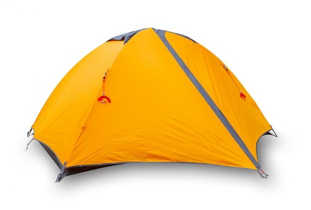 Orange geschlossenes touristenzelt Premium Fotos