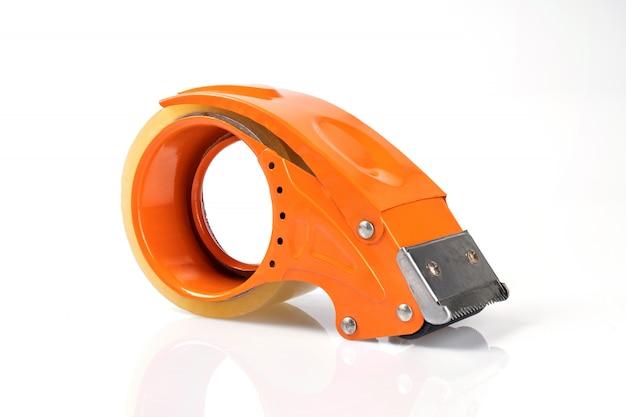 Orange klares band einzeln isoliert auf weißer wand Premium Fotos