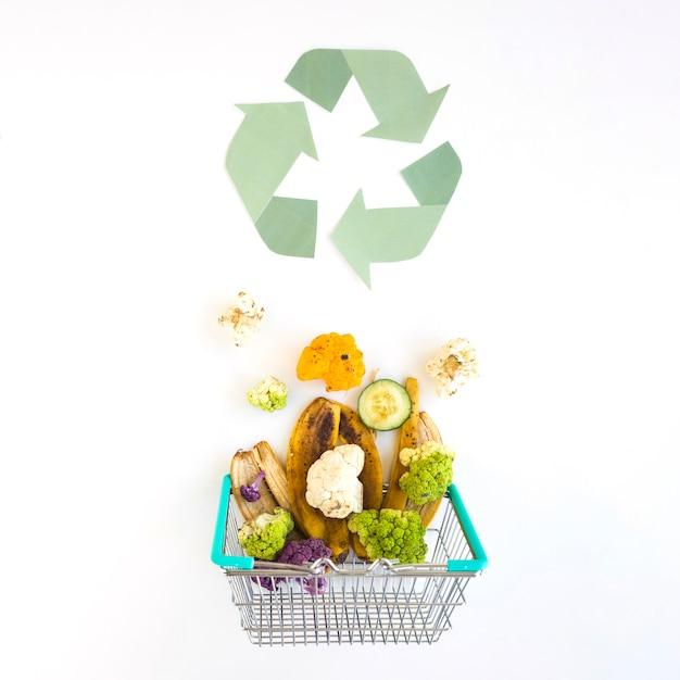 Organischer abfall im korb nahe bereiten logo auf Kostenlose Fotos