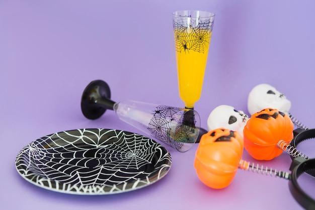 Ornamente und getränke für die halloween-party Premium Fotos