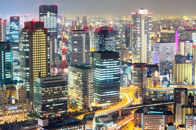 Osaka skyline Premium Fotos