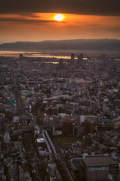 Osaka stadt und skyline Premium Fotos