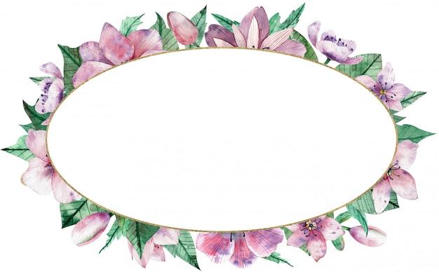 Ovaler mit blumenrahmen des aquarellrosas mit blumen und zentralem weißem hintergrund. Premium Fotos
