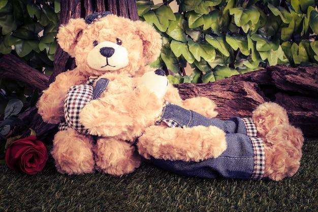 Paar Teddybären mit Rose im Garten Kostenlose Fotos