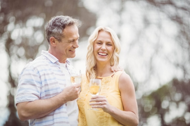 Paare, die draußen mit champagner rösten Premium Fotos