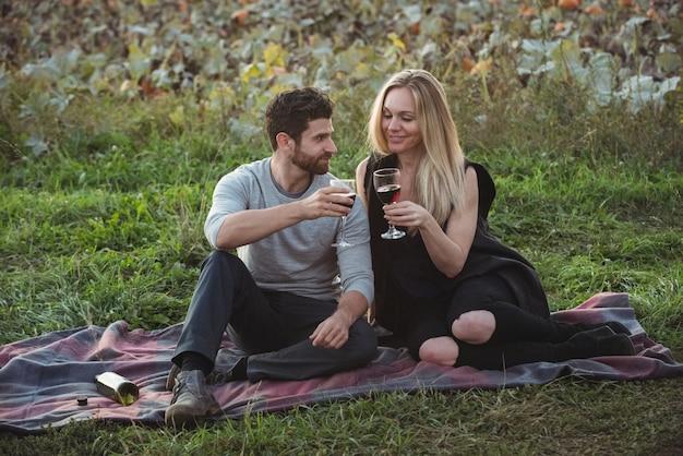 Paare, die ein glas rotwein auf dem gebiet rösten Kostenlose Fotos