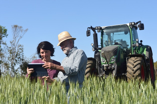 Paare von landwirten auf einem gebiet mit einer digitalen tablette Premium Fotos