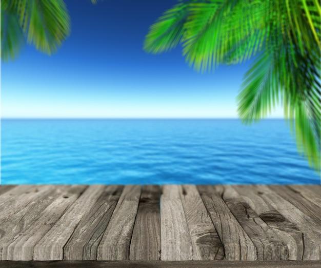 Palmblätter auf dem meer und den hafen Kostenlose Fotos