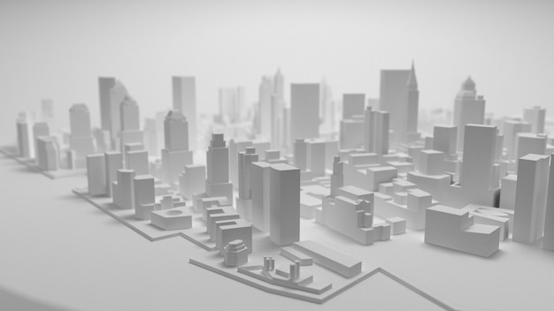 Panorama der stadt 3d getrennt auf weißem hintergrund Premium Fotos