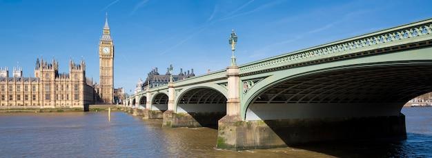Panoramablick auf big ben und houses of parliament, london, uk Kostenlose Fotos