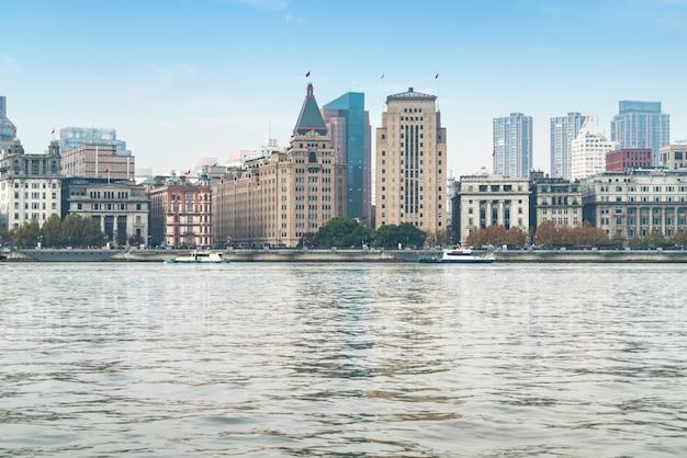 Panoramablick auf die bundstadt im huangpu-bezirk, shanghai Premium Fotos