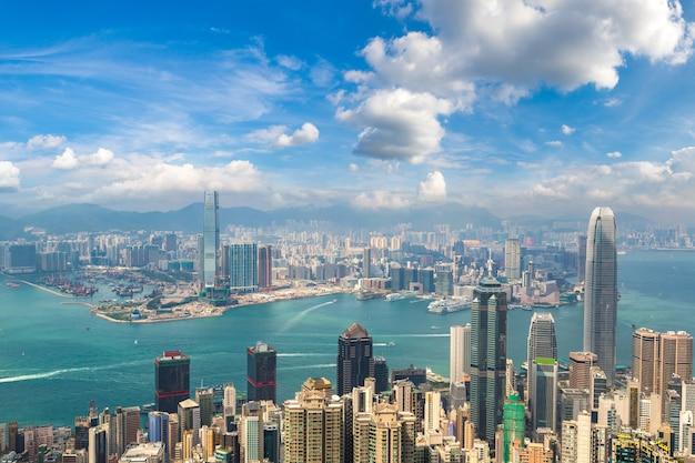 Panoramablick auf hong kong Premium Fotos