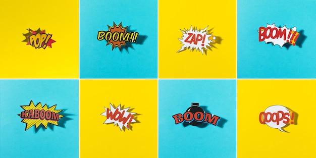Panoramablick der komischen explosionsikone auf gelbem und blauem hintergrundmuster Kostenlose Fotos