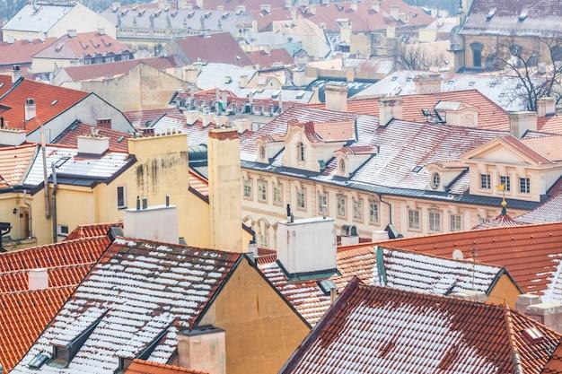 Panoramablick des dachs in prag Premium Fotos