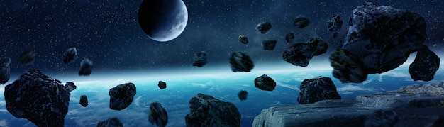 Panoramablick von planet erde mit den asteroiden, die nahe wiedergabe 3d fliegen Premium Fotos