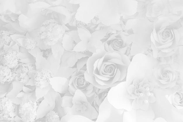 Papierblume, weiße rosen aus papier geschnitten, hochzeitsdekorationen Premium Fotos