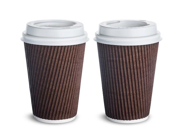 Papierkaffeetasse lokalisiert auf weißem hintergrund Premium Fotos