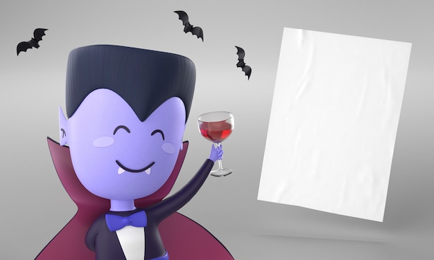 Papierseite mit dracula-dekoration für halloween Kostenlose Fotos