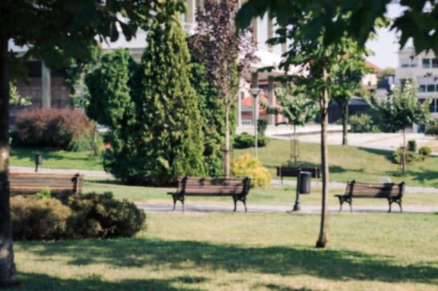Park mit bänken und lampe Kostenlose Fotos