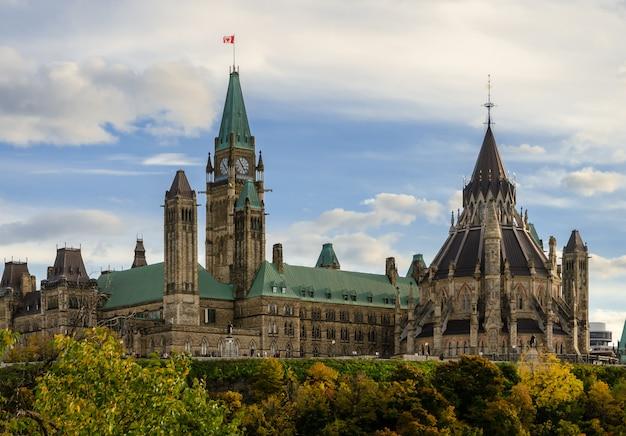 Parlamentsgebäude und bibliothek in ottawa, kanada Premium Fotos
