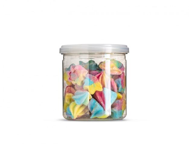 Pastellfarbe baiser in flasche isoliert Premium Fotos