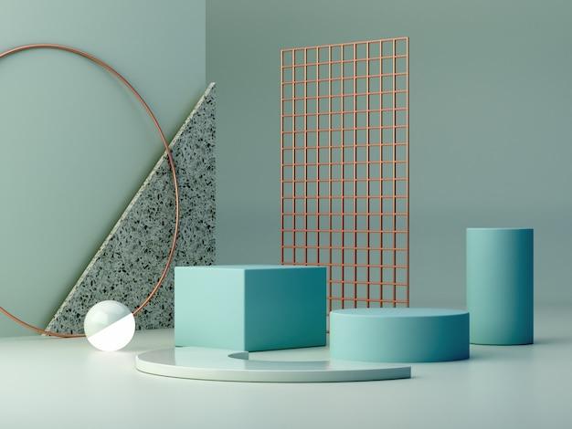 Pastellfarben formen auf blauen pastellfarben abstrakten hintergrund. minimal boxen podium. Premium Fotos