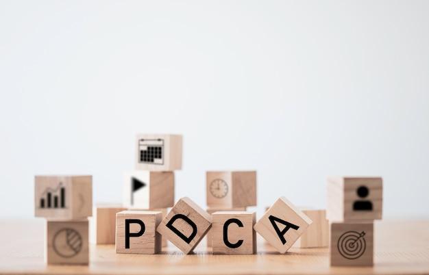 Pdca oder pan überprüfen die aktion auf kontinuierliche verbesserung des qualitätszyklus. kaizen-konzept. Premium Fotos