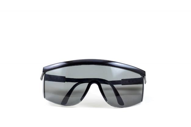 Persönliche schutzausrüstung der schwarzen schutzbrille auf weißem hintergrund Premium Fotos