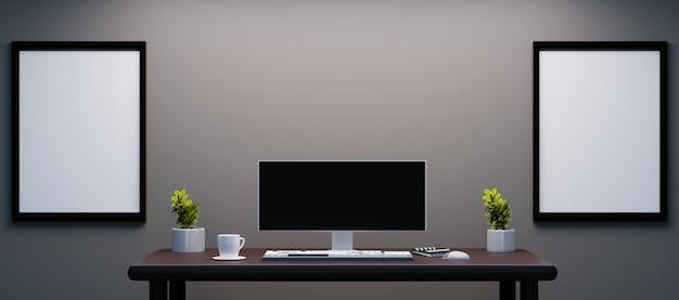 Persönlicher schreibtisch mit ultra-breitem monitor und paarrahmen an der wand als modell Premium Fotos