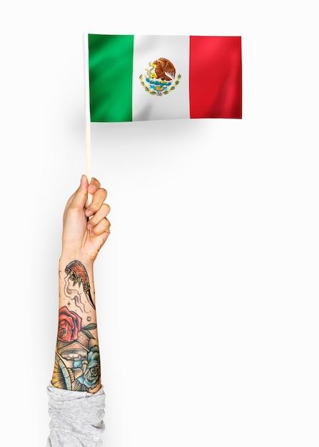 Person winkt die flagge der vereinigten mexikanischen staaten Kostenlose Fotos