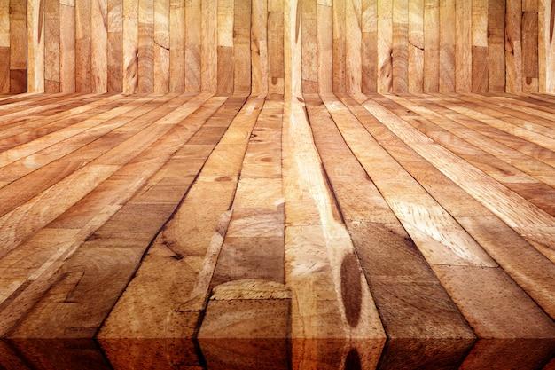 Perspektivenansicht des holzfußbodenhintergrundes der schmutzplanke, beschaffenheit des hölzernen saunaraumes Premium Fotos