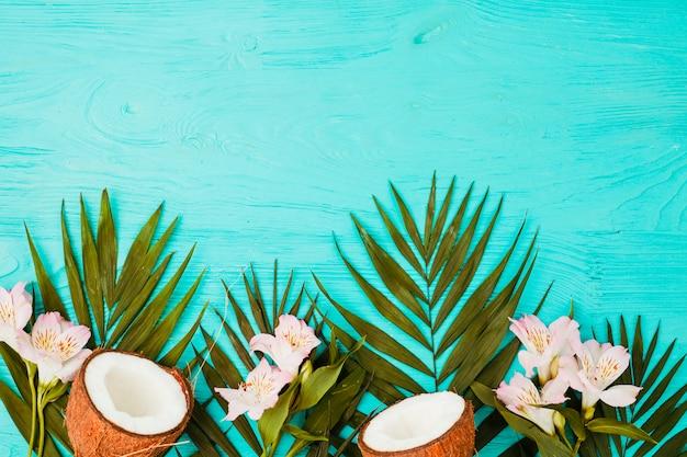 Pflanzenblätter mit frischen kokosnüssen und blüten Kostenlose Fotos