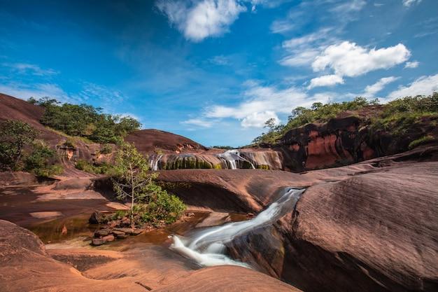 Phu tham phra-wasserfall, schöner wasserfall in der bung-kan-provinz, thailand. Premium Fotos